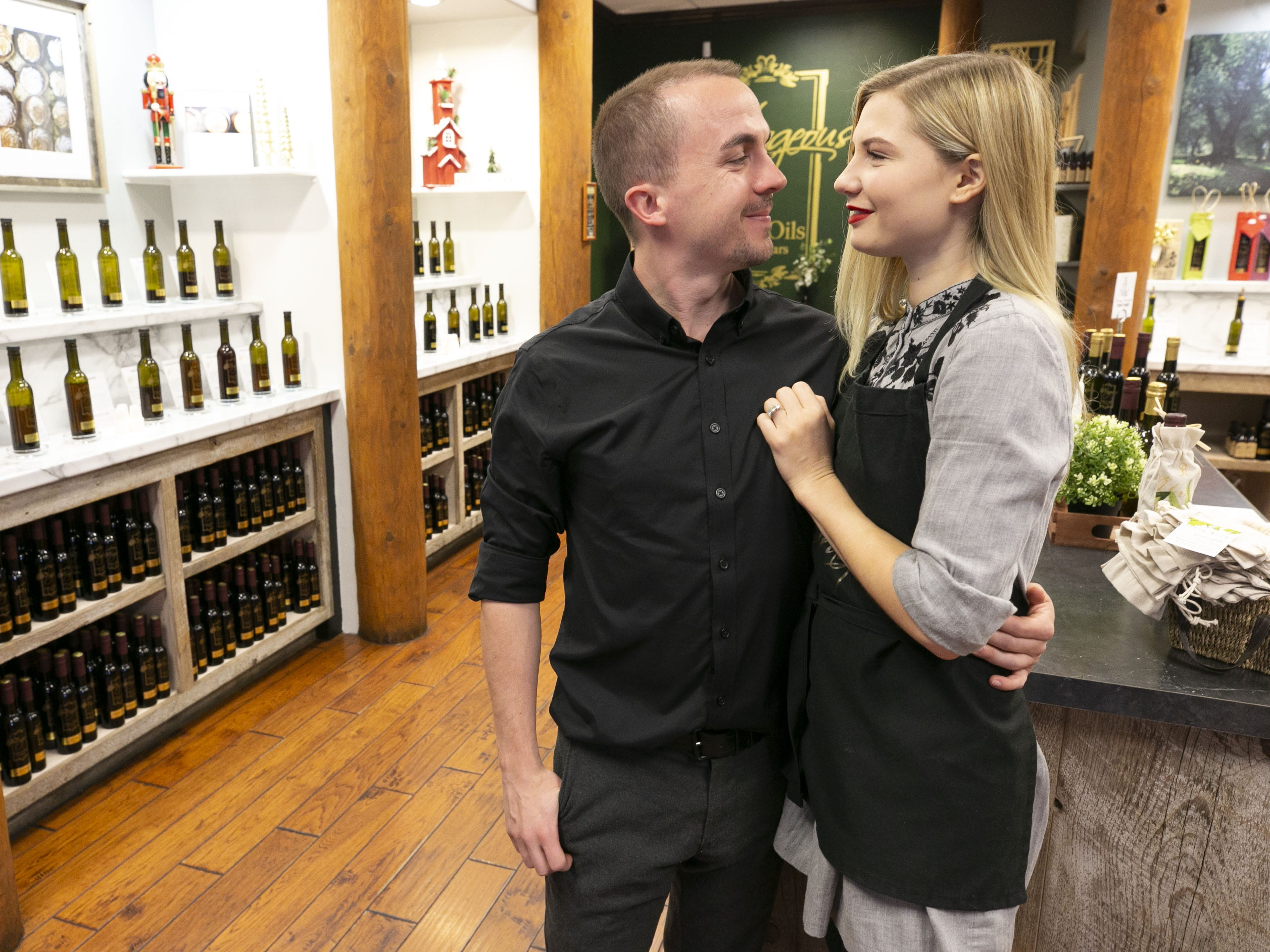 Child actor, Frankie Muniz and his fiance Paige Price own and run Outrageous Olive Oils & Vinegars in Old Town Scottsdale on Tuesday, Dec. 11, 2018.