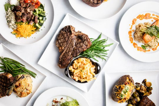A variety of dishes from Keeler's Neighborhood Steakhouse.