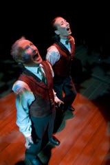 """R. Hamilton Wright (left) as Dr. Jekyll and Carrie Paff as one of the Mr. Hydes in Arizona Theatre Company's """"Dr. Jekyll and Mr. Hyde."""""""