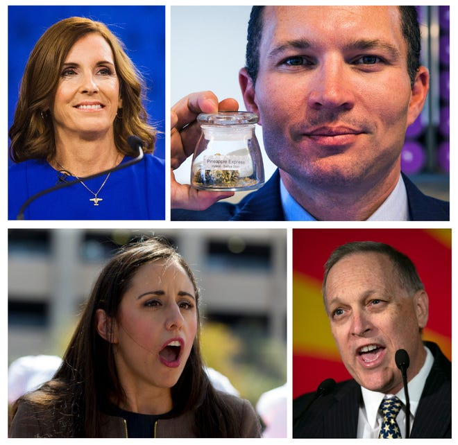 Martha McSally (clockwise from top left), J.P. Holyoak, Andy Biggs and Athena Salman are worth watching in 2019.