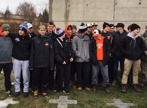Palmyra baseball players took part in last Saturday's Wreaths Across America ceremony.