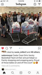The Cedar Crest girls basketball team filled up their shopping carts during a recent trip to buy presents and necessary items for a family in need from the Cornwall-Lebanon School District.