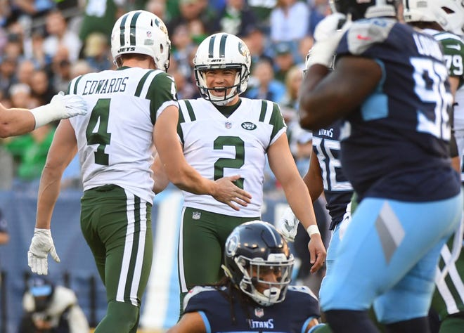 New York Jets kicker Jason Myers celebrates after kicking a field goal during the first half against the Tennessee Titans at Nissan Stadium earlier this month.