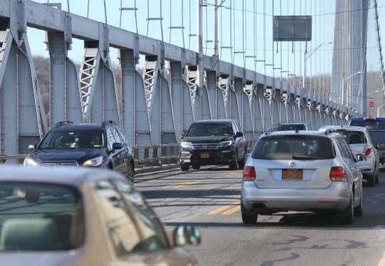 Traffic travels over the Mid-Hudson Bridge on December 19, 2018.