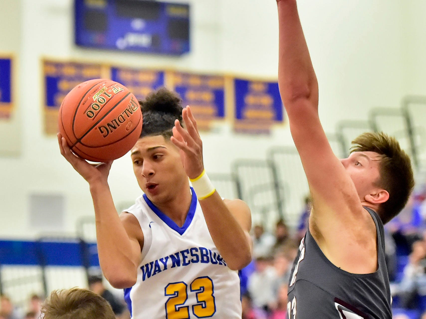 Jay Alvarez (23) shoots on Tuesday, December 18, 2018. Waynesboro defeated Shippensburg 72-59 during a home game.
