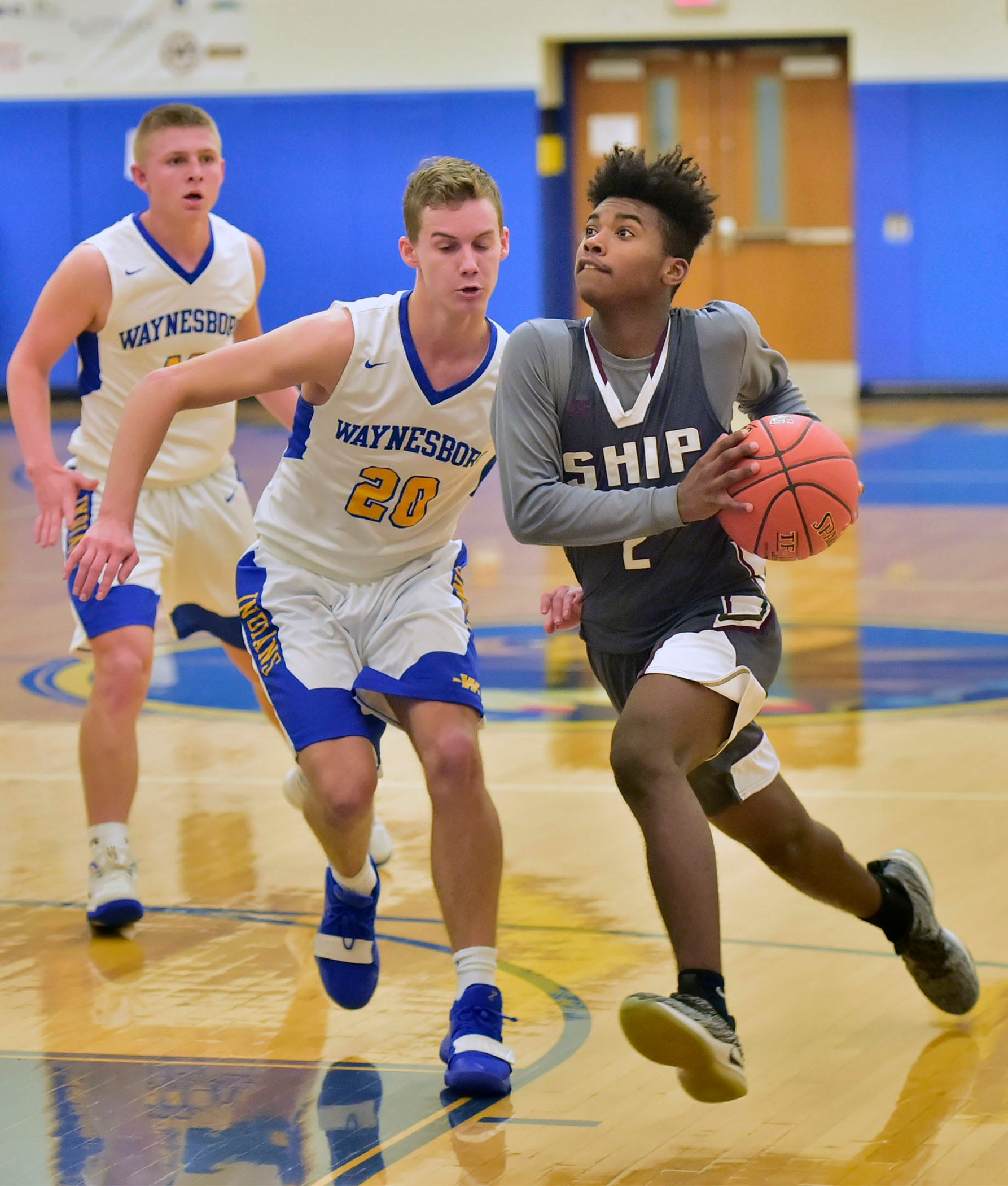 Shippensburg's Jayden Statum drives to the basket on Tuesday, December 18, 2018. Waynesboro defeated Shippensburg 72-59 during a home game.