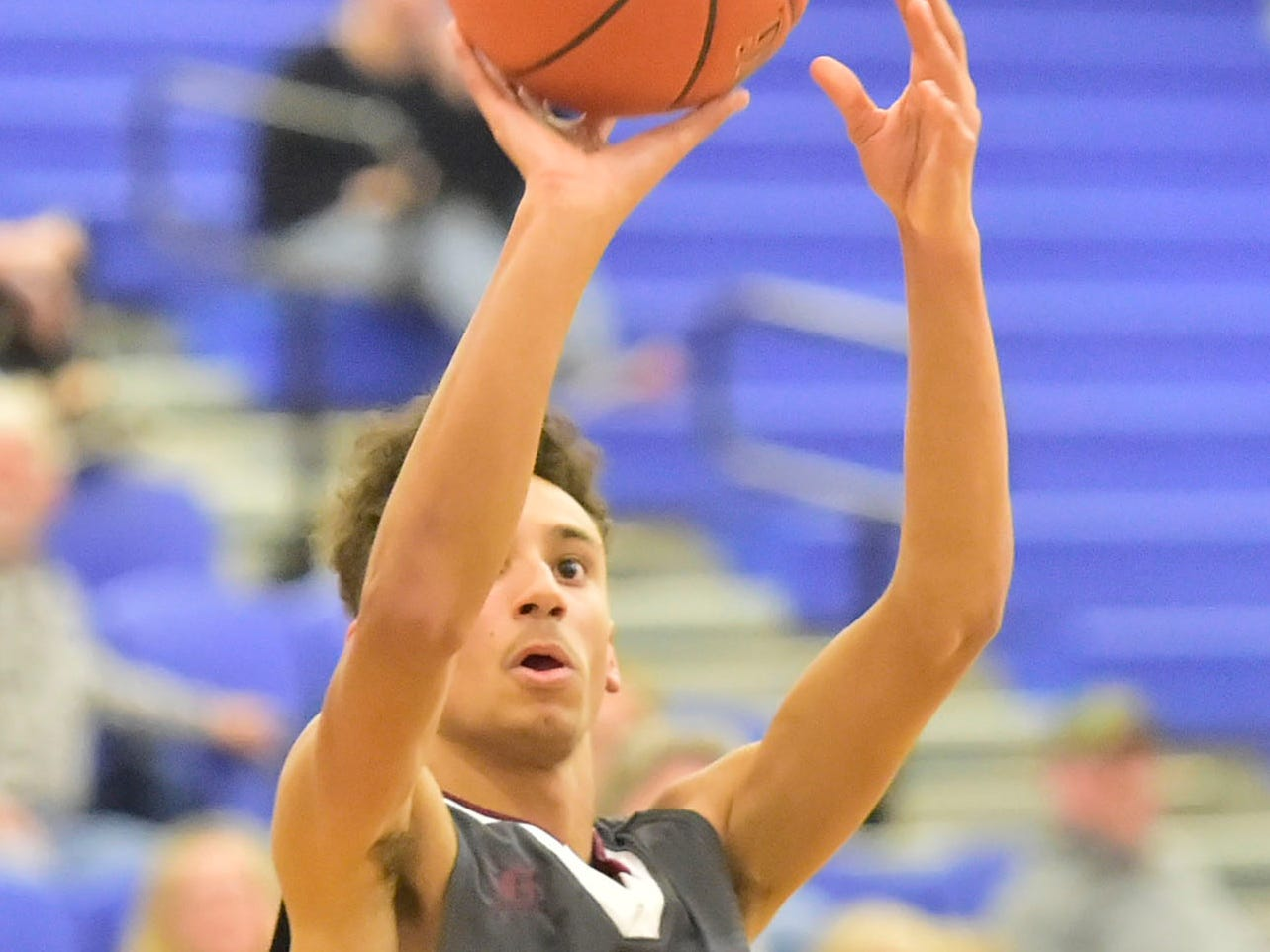 Shippensburg's Isaiah Houser shoots on Tuesday, December 18, 2018. Waynesboro defeated Shippensburg 72-59 during a home game.