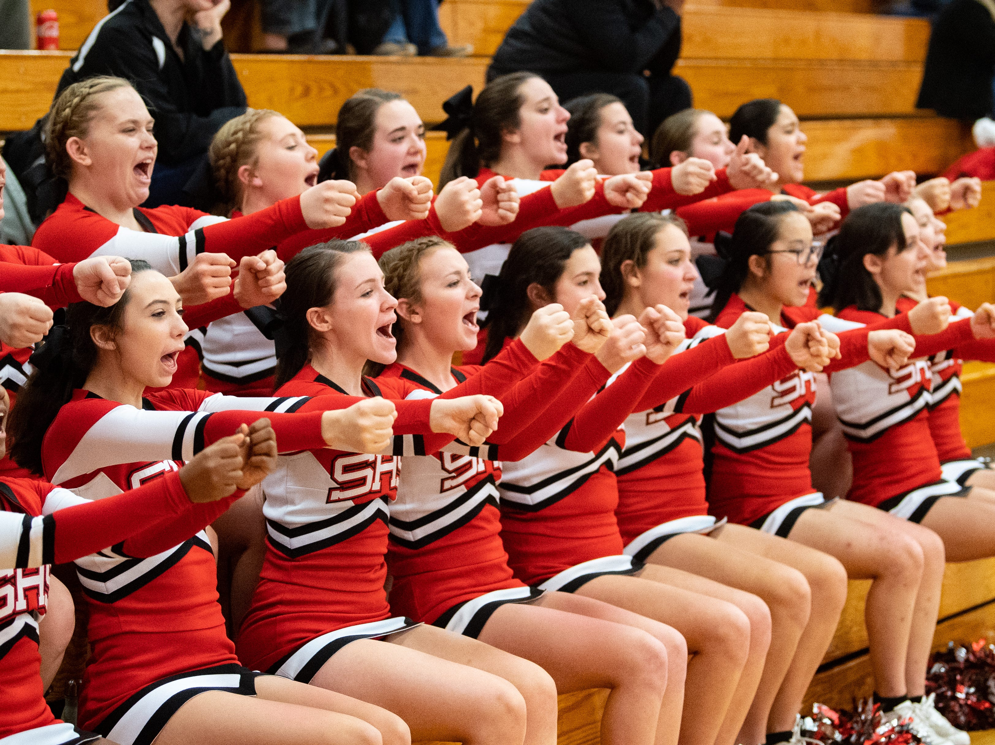 Susquehannock's cheerleaders keep the visiting crowd hyped during the game at Dover Area High School, December 18, 2018. The Eagles defeated the Warriors 69-61.
