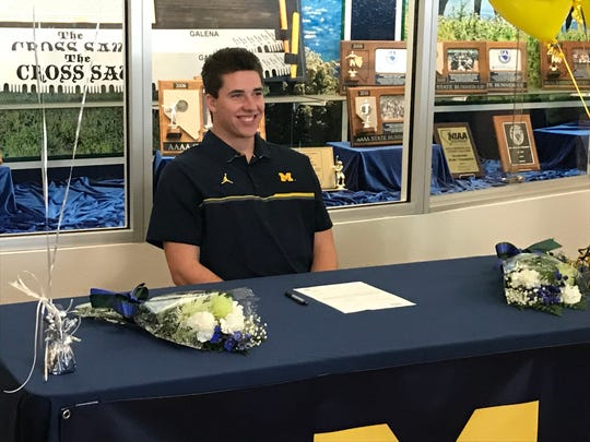 Damonte Ranch senior Cade McNamara signed with Michigan for football in a ceremony at Damonte on Wednesday.