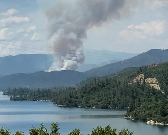 The Carr Fire erupts on July 23, 2018, near Whiskeytown Lake.
