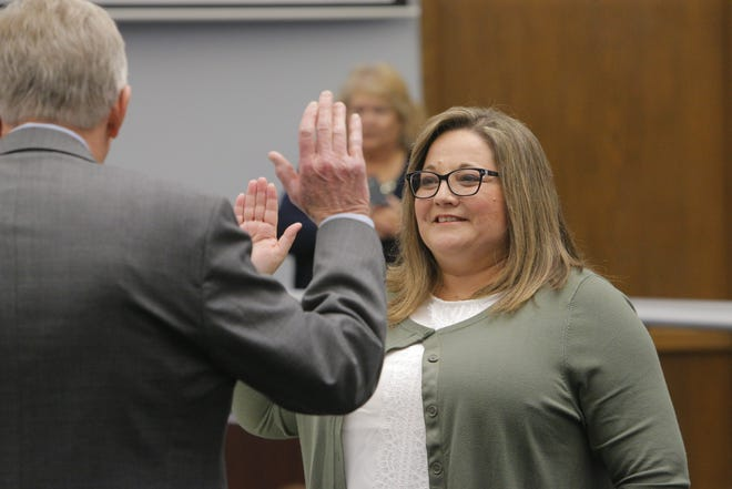 Christie Cromeenes takes the oath of office Tuesday for the Salinas City Council. She was elected in November to replace outgoing Kimbley Craig, who represented North Salinas west of Highway 101 but decided not to run.