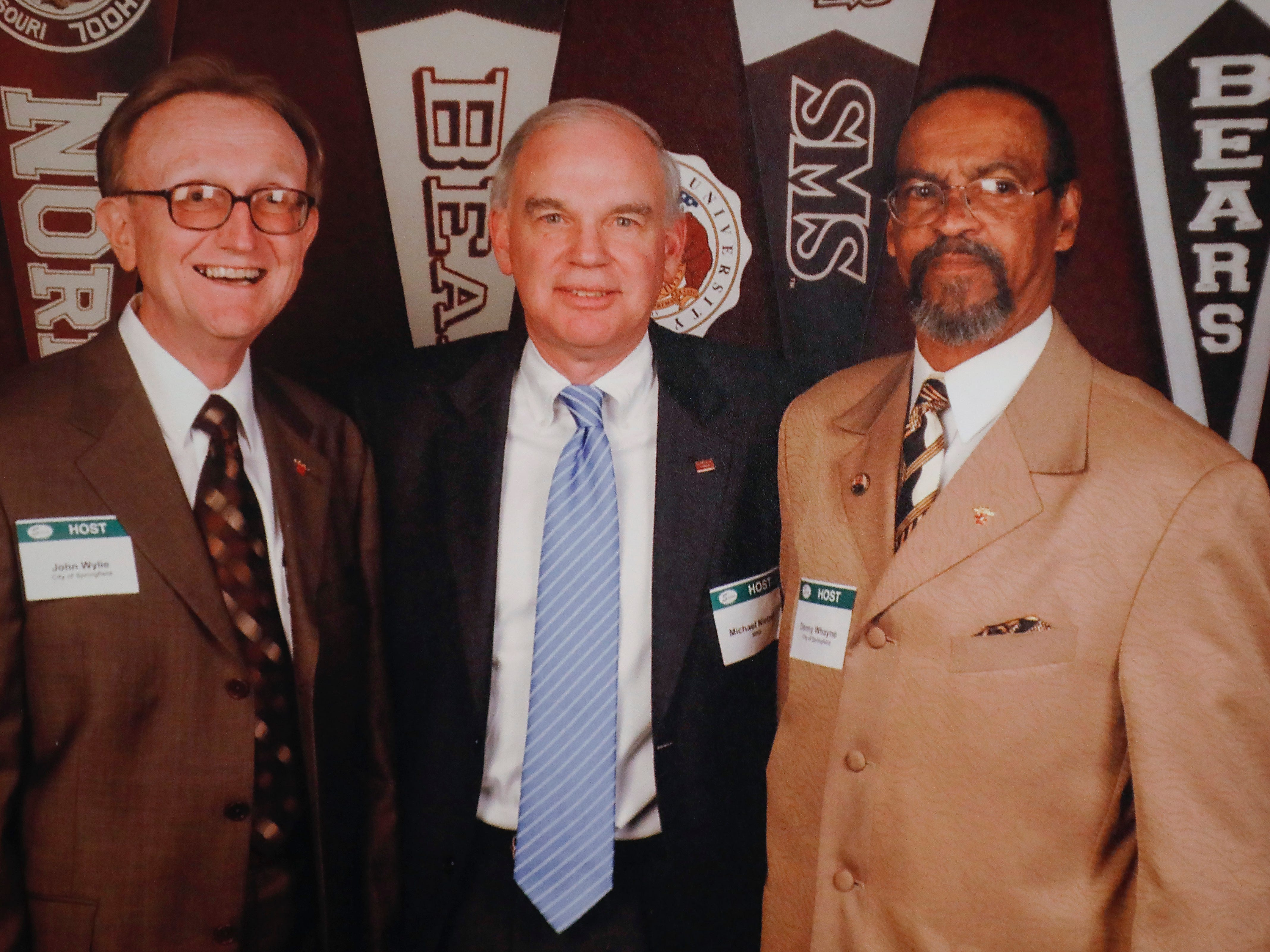 Denny Whayne, right, with John Wylie, left, and former Missouri State President Michael Nietzel.