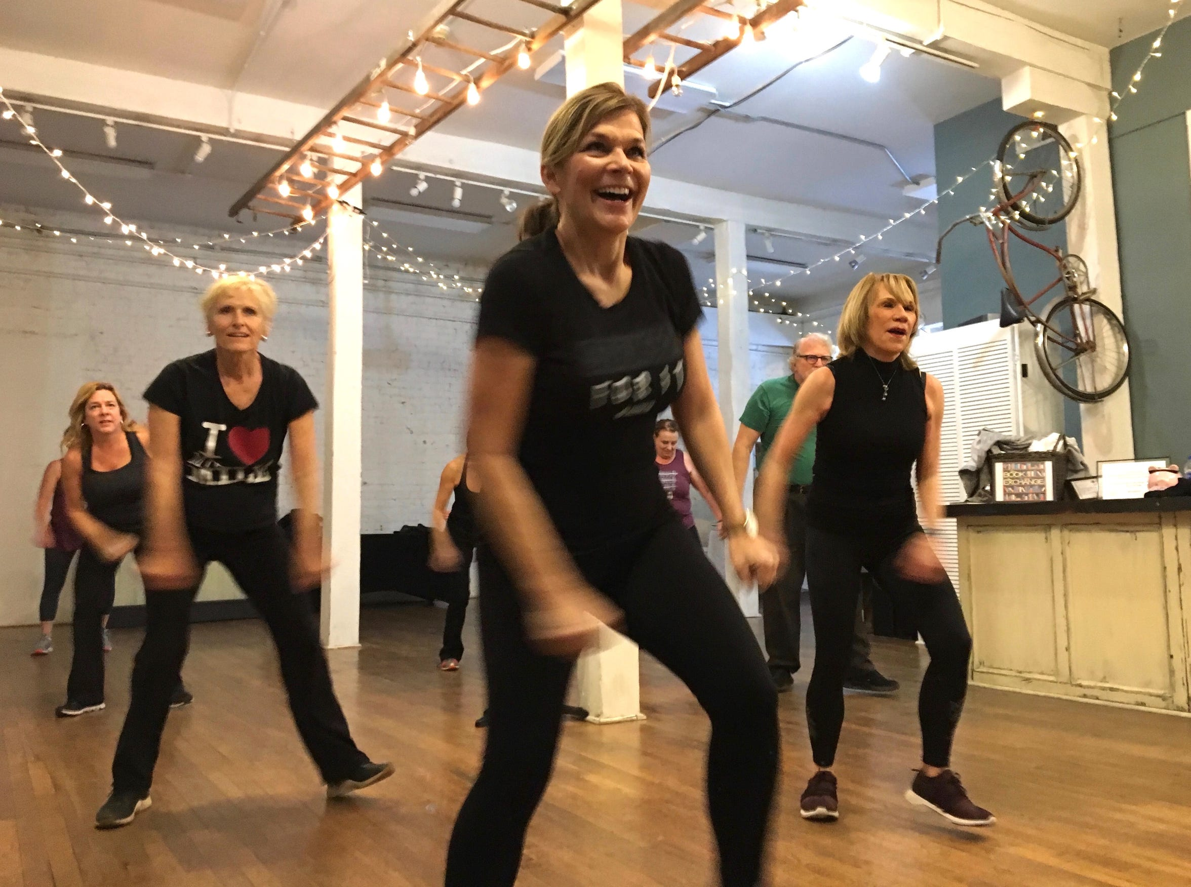Photographed at Jazzercise Staunton at Queen City Place, about a dozen people take Maryann Acuff's Jazzercise class on Friday, Dec. 14, 2018. An eclectic group, everyone in class has come to feel like family.