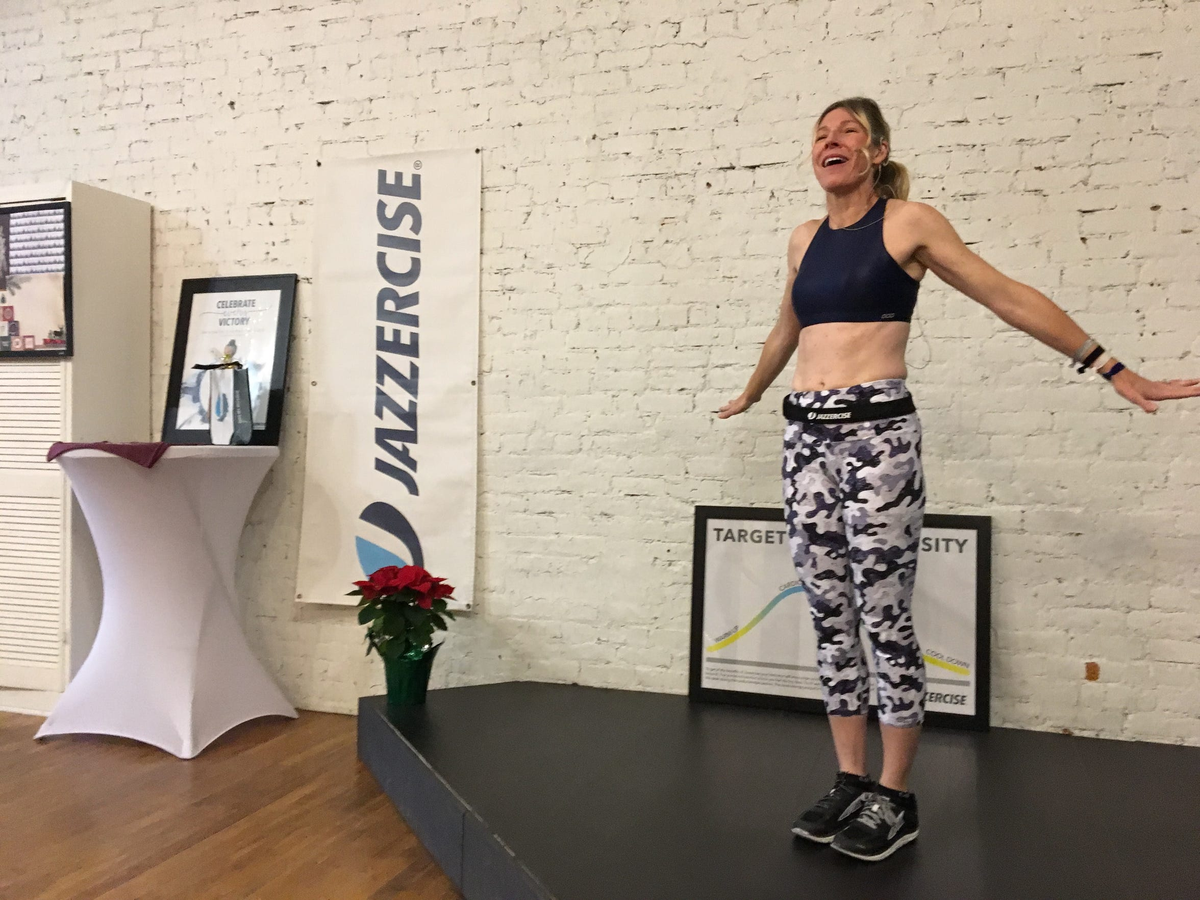 Instructor Maryann Acuff teaches at Jazzercise Staunton at Queen City Place on 12 Byers Street in Staunton on Friday, Dec. 14, 2018.