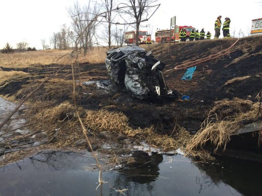 Scene from a crash Tuesday afternoon in Albany Township.