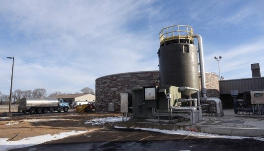 A truck delivers byproduct to the St. Cloud Wastewater Treatment Plant.