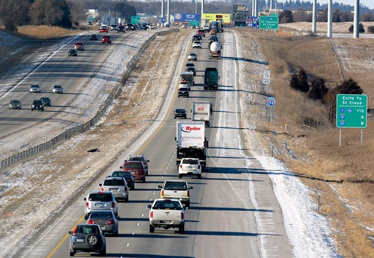 Traffic moves along Interstate 94 in 2016, near St. Cloud.