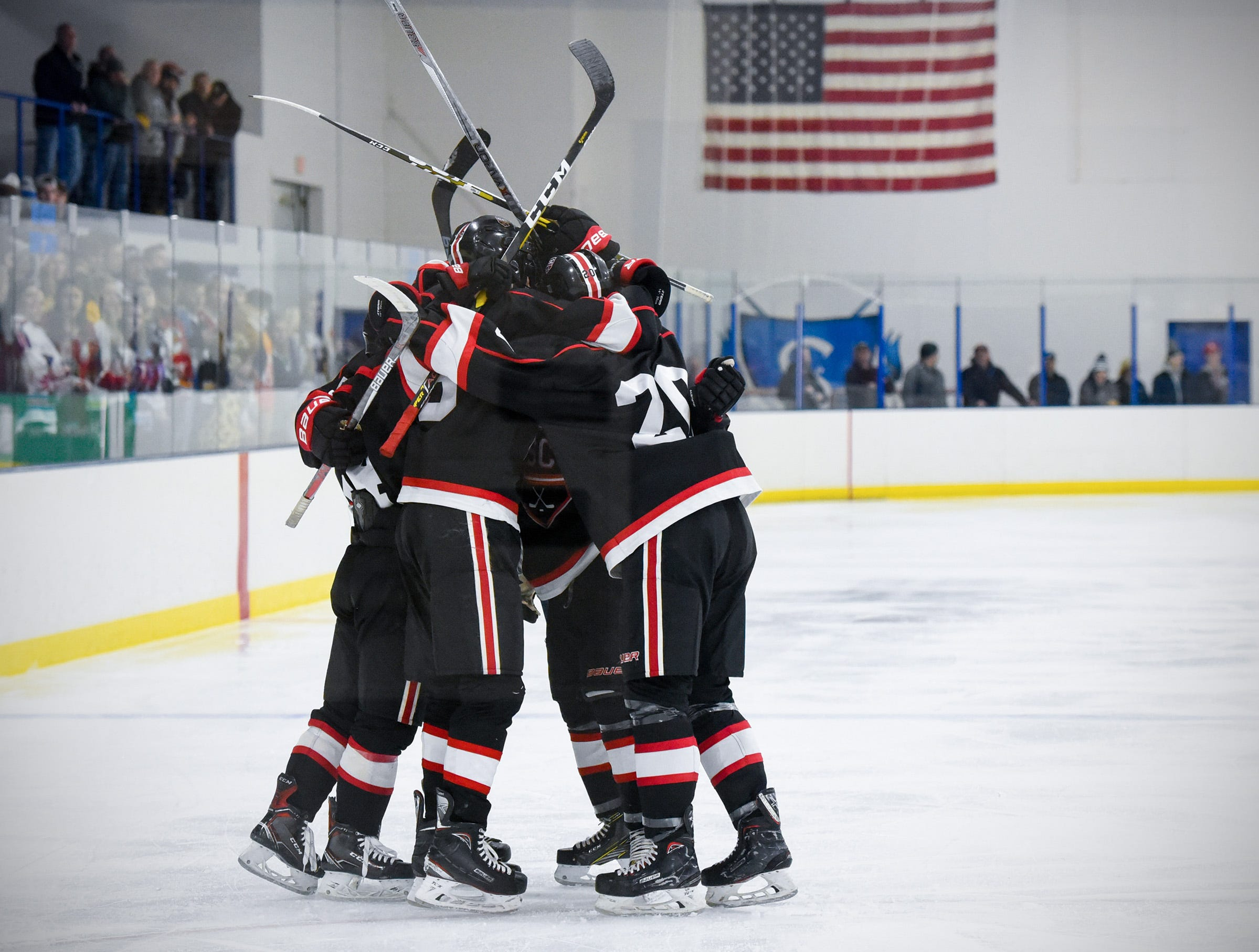St. Cloud celebrates a goal against Sartell during the second period Tuesday, Dec. 18, at the Bernick's Arena in Sartell.
