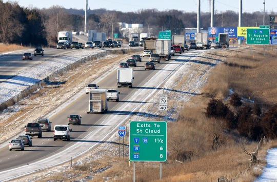 Traffic moves along Interstate 94 Friday Feb. 12, 2016, near St. Cloud.