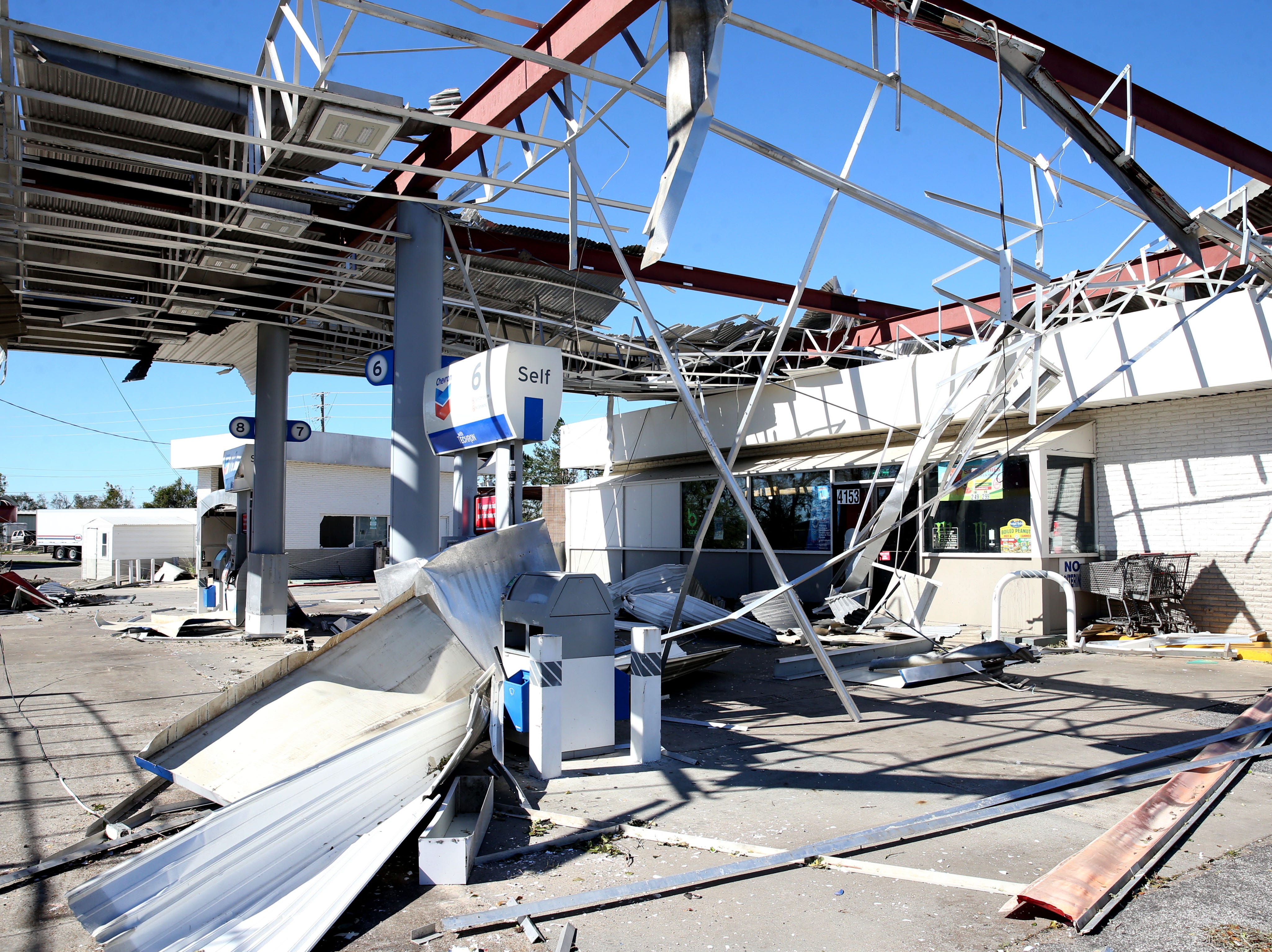 The Big Little gas station in Marianna, Fla. was torn to shreds after Hurricane Michael ripped through the panhandle on Wednesday Oct. 10, 2018. Debris surrounded the shell of  what was left of the gas station, Friday, Oct. 12, 2018.