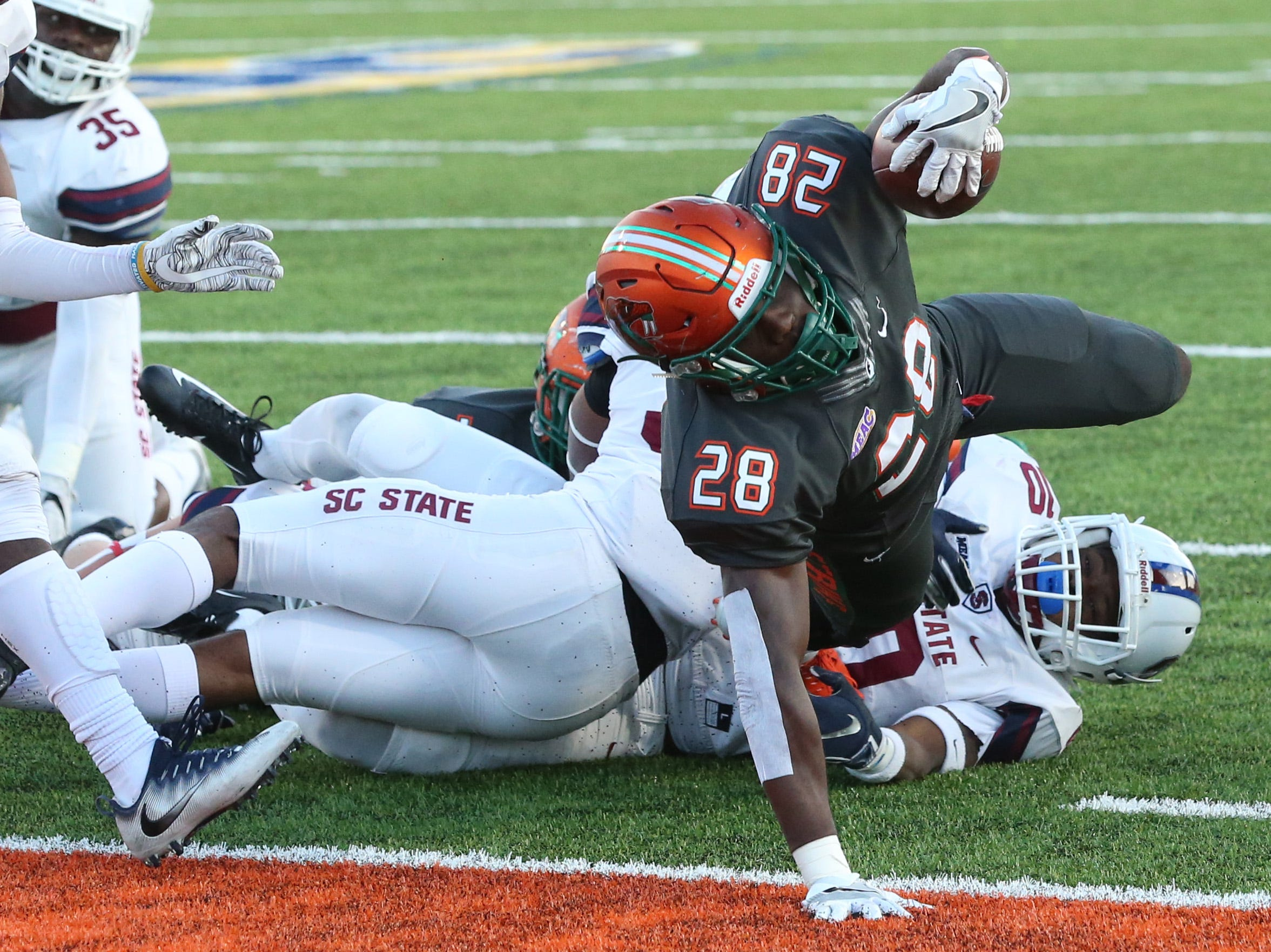 Florida A&M Rattlers wide receiver Ricky Henrilus (28) dives into the end zone to score a touchdown as the FAMU Rattlers host the South Carolina State Bulldogs in college football, at Bragg Memorial stadium, Saturday, Nov. 10, 2018. The Rattlers lost to the Bulldogs, 21-44.