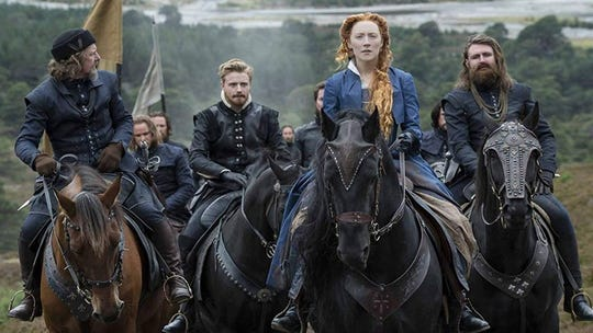 "Saoirse Ronan is back in the saddle as ""Mary Queen of Scots,"" opening Friday."
