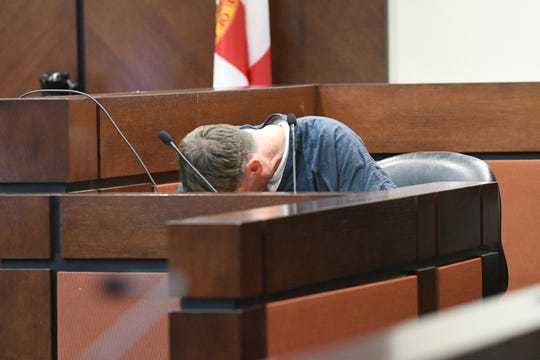 A recess is taken to give time for Brian Winchester to collect himself before continuing his testimony in the trial against Denise Williams for the murder of her husband, Mike Williams, Tuesday, Dec. 11, 2018. Winchester confessed to pushing Mike overboard a boat while duck hunting and then shooting him and hiding the body.