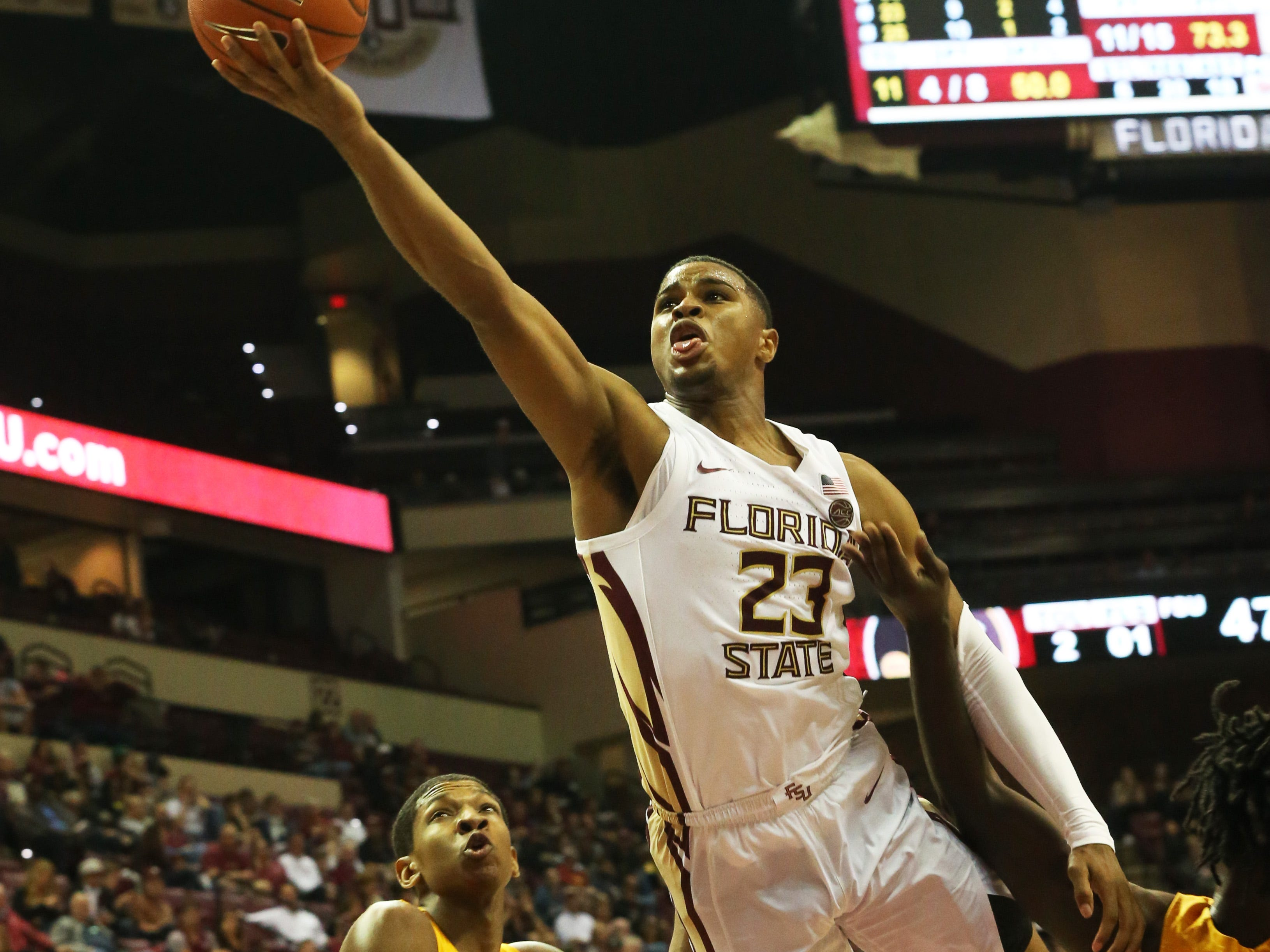 Florida State Seminoles guard M.J. Walker (23) reaches for the basket as the Florida State Seminoles host the Canisius Golden Griffins for basketball in the Tucker Civic Center, Monday, Nov. 19, 2018. The Seminoles beat the Golden Griffins 93 - 61.