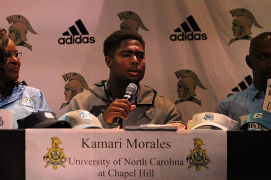 Lincoln senior tight end Kamari Morales signed on Wednesday with North Carolina.