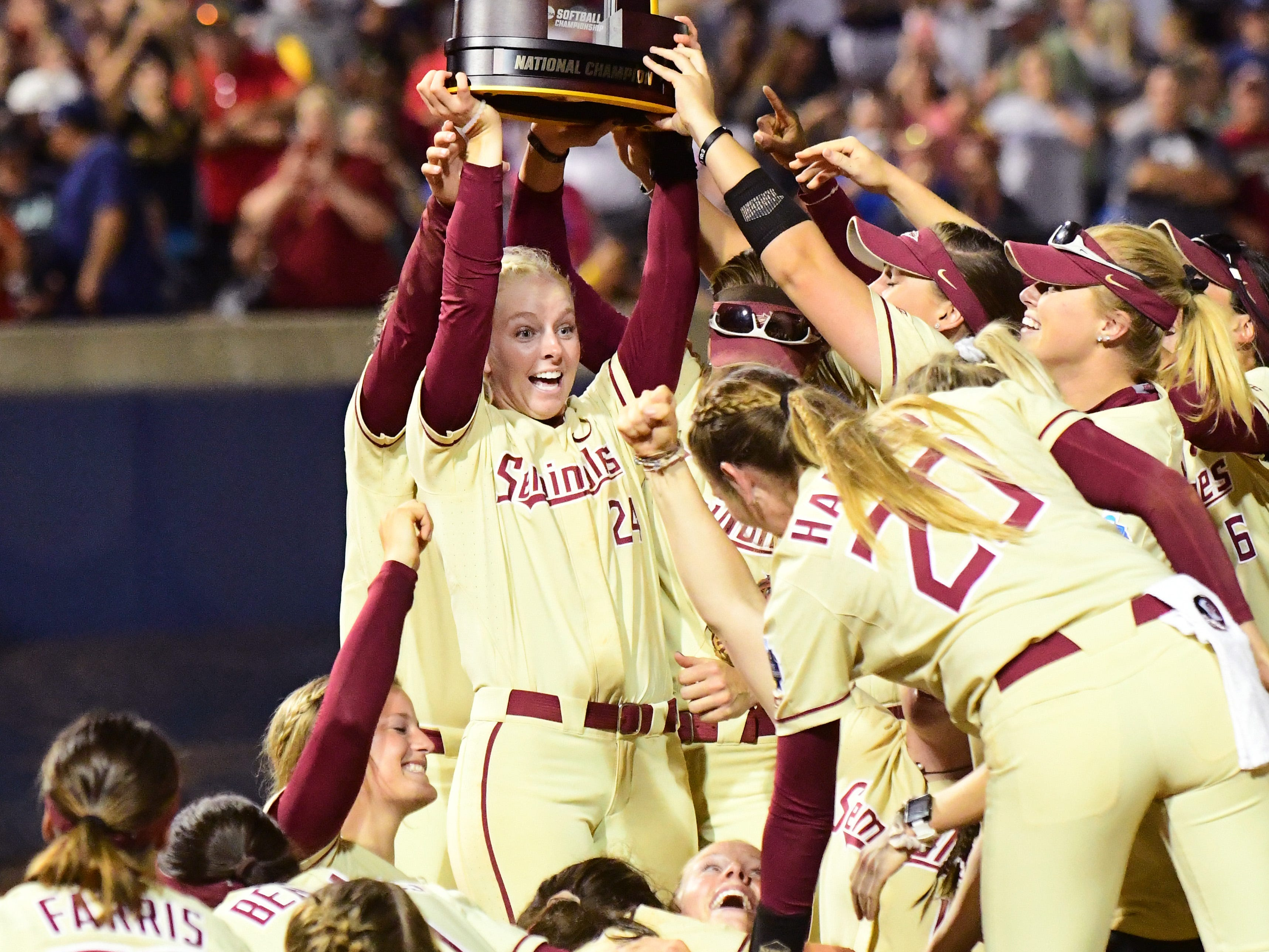 The Florida State Univeristy Softball Team celebrates their first NCAA National Championship title with a 8-3 victory over the Washington Huskies at the USA Softball Hall of Fame Stadium on Tuesday.