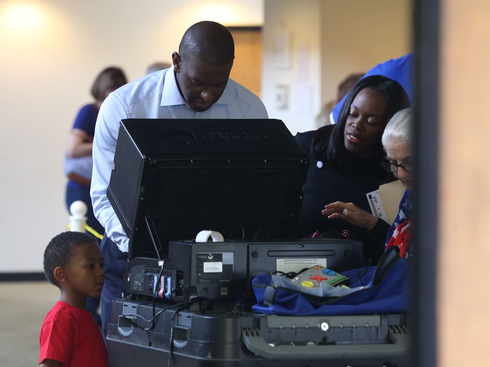 Candidate for Florida Governor Andrew Gillum arrives at Good Shepherd Catholic Church on Election Day to cast his ballot. His wife, R. Jai Gillum also casts her ballot.
