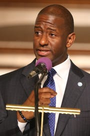 Andrew Gillum speaks at Bethel AME Church, asking for continued prayer and support as the race for Florida Governor continues, Sunday, Nov. 11, 2018. Tears well up in Gillum's eyes as he continues to  encourage his supporters to keep hope alive.