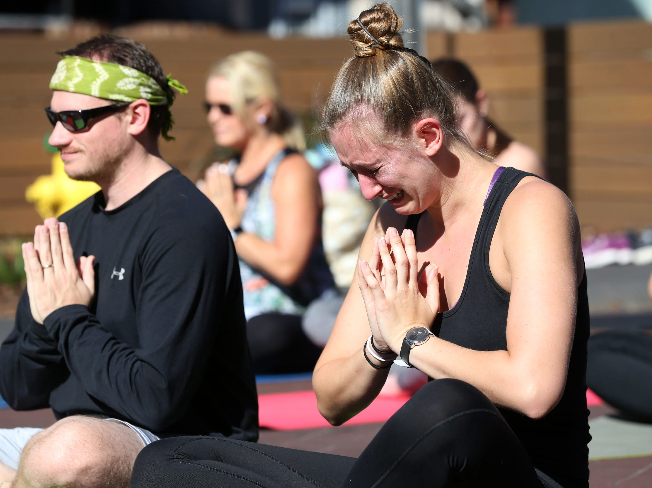 Yoga for a Cause, originally organized to help Hurricane Michael victims, becomes a community event to also create a sense of peace the day after the shooting that took place at Hot Yoga Tallahassee. The event was held on Adams St. on Saturday, Nov. 3, 2018. Two women were shot and killed at the yoga studio, Maura Binkley and Nancy Van Vessem.