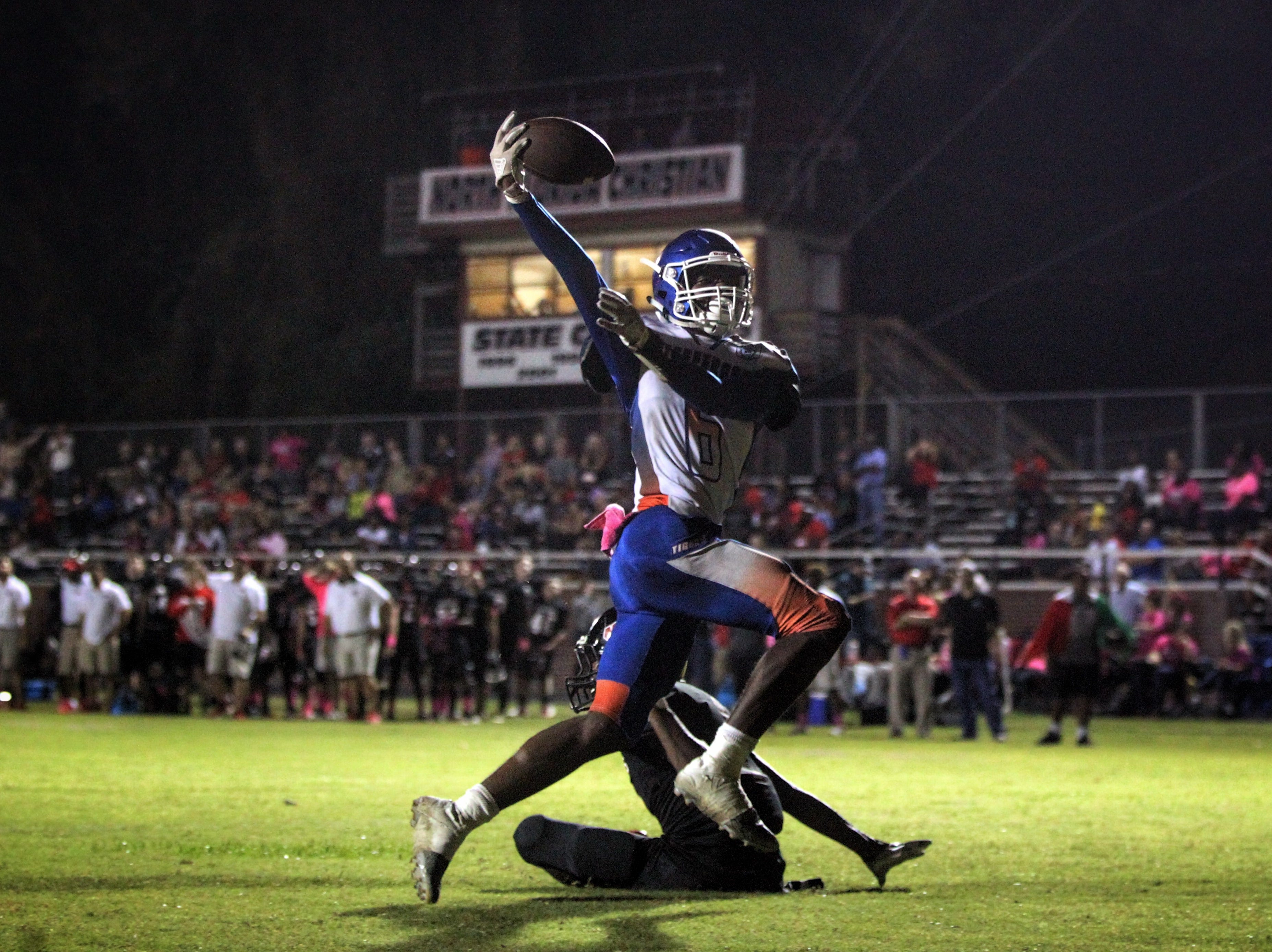 Jefferson County senior Javion Patrick hauls in a touchdown catch during a game at North Florida Christian on Oct. 19, 2018.