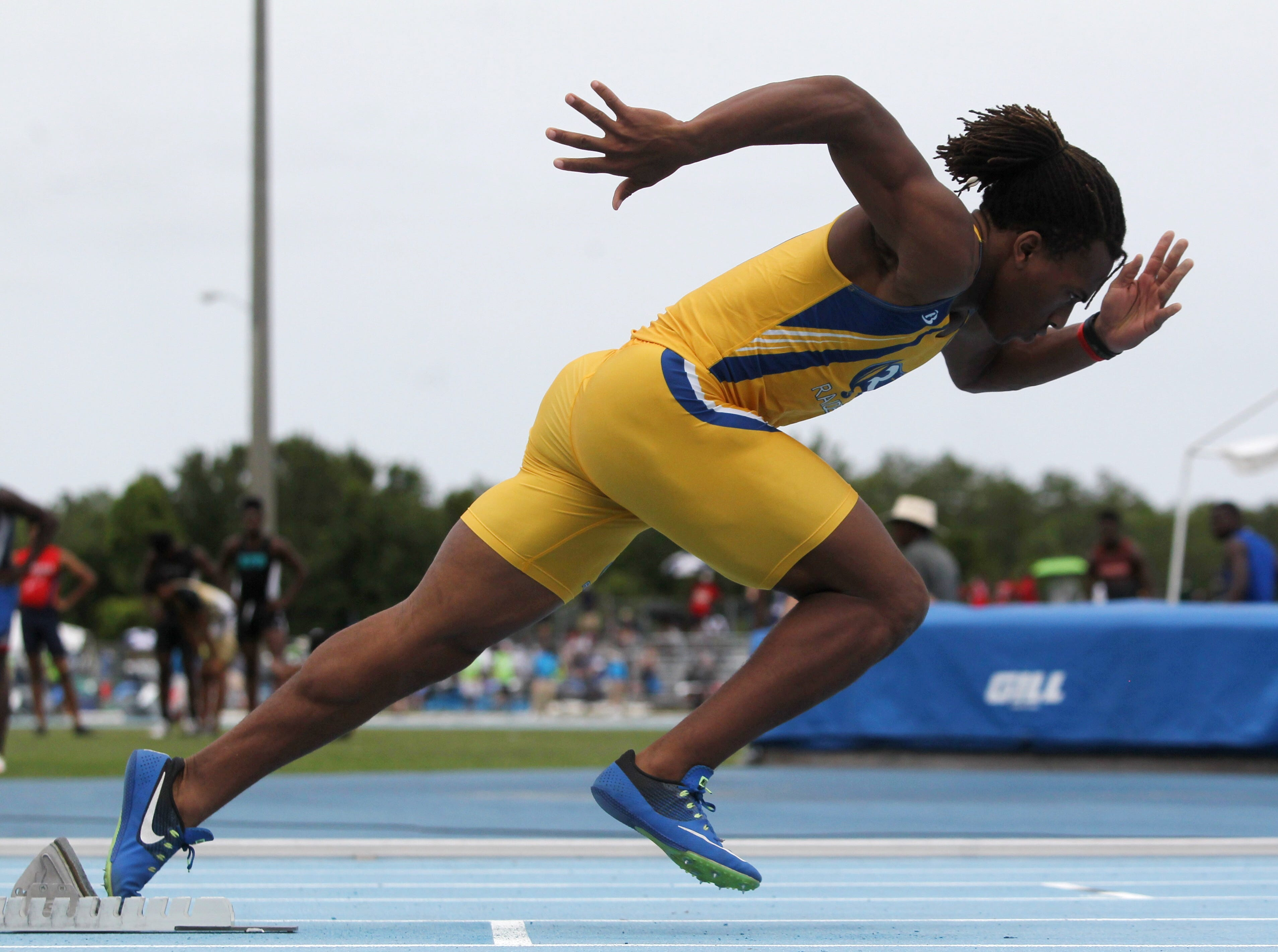 Rickards High junior Trevor Solomon-Wilson gets out of the blocks on a 400-meter dash final at the FHSAA State Championships. Solomon-Wilson would win gold to capture the first individual state title by a sprinter in Rickards' school history.