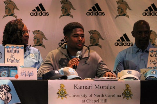Lincoln senior tight end Kamari Morales signed on Wednesday with North Carolina.