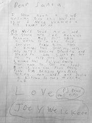Joey Weickert wrote this letter to Santa Claus asking for a kitchen for his mother and aunt. (PROVIDED)