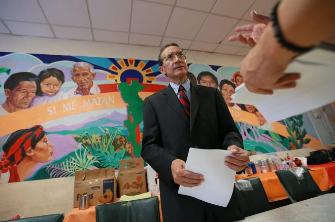 El Paso attorney Enrique Moreno talks with reporters after a news conference Wednesday, Dec. 19, 2018, at Casa Vides to discuss the death of Jakelin Caal Maquin, who died in Border Patrol custody.