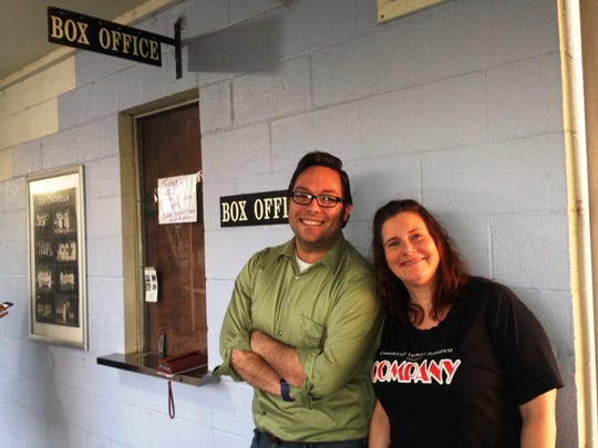 R. Shane Bingham, general manager of Camarillo Skyway Playhouse, and Jolyn Johnson, the theater's social media director, pose outside  the community theater that has been located at 330 Skyway Drive in the Camarillo Airport complex for the past 39 years. A decision was made by Oxnard Union High School District to sell the property, with an auction taking place next year. The Keep Skyway Flying Campaign is  underway to raise money so the playhouse can remain at its current location.