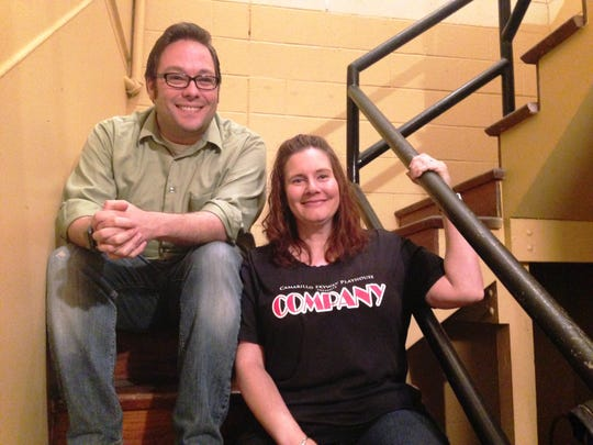 R. Shane Bingham, general manager of Camarillo Skyway Playhouse, and Jolyn Johnson, the theater's social media director, sit on the steps inside the community theater that has been located at 330 Skyway Drive in the Camarillo Airport complex for the past 39 years. A decision was made by Oxnard Union High School District to sell the property, with an auction taking place next year. The Keep Skyway Flying Campaign is currently underway to raise money so the playhouse can remain at its current location.