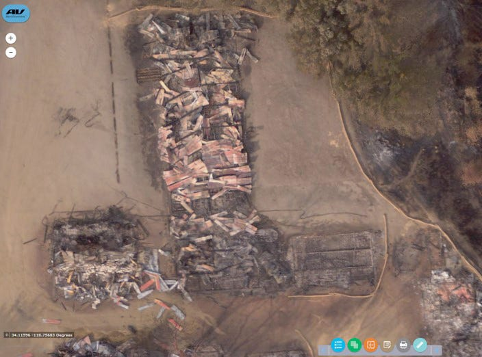 The devastation created by the Woolsey Fire at Paramount Ranch in Agoura Hills is captured by the AeroVironment Quantix drone.
