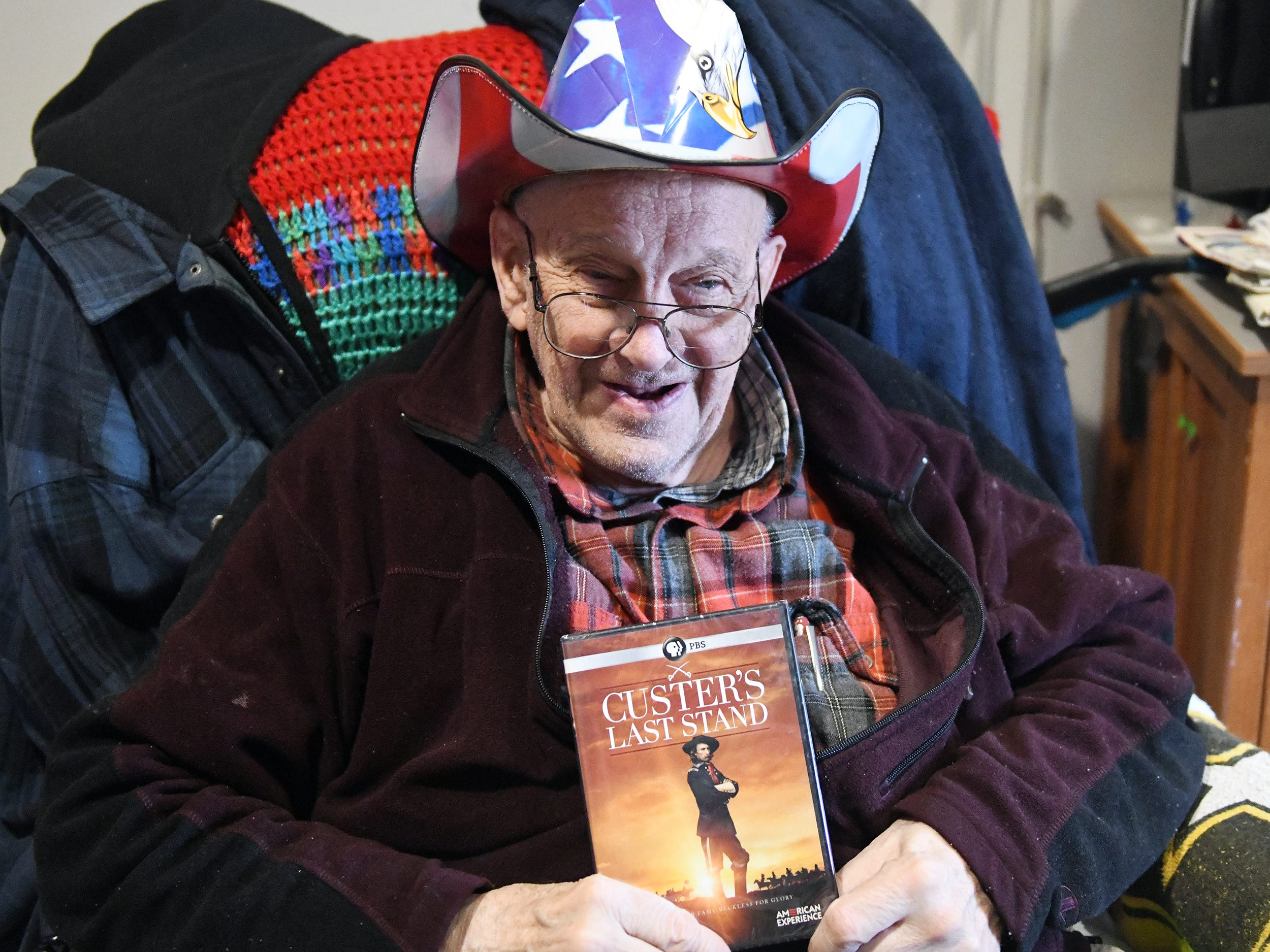"N.J. Veterans Memorial Home resident Melvin Lyman requested the movie ""Custer's Last Stand"" as his gift before the eighth annual ""Second Wind Dreams"" celebration on Wednesday, December 19, 2018."