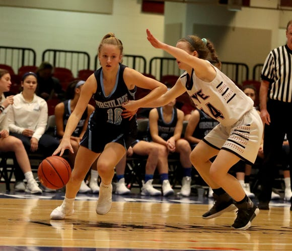 Alexa Mustafaj of Ursuline drives to the basket during a Slam Dunk Tournament basketball game against Rye at the Westchester County Center Dec. 19, 2018. Ursuline defeated Rye 72-42.