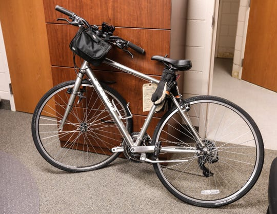 Matt George's damaged bicycle held as evidence at the Town of Ramapo Police Headquarters in Airmont on Wednesday, December 19, 2018.