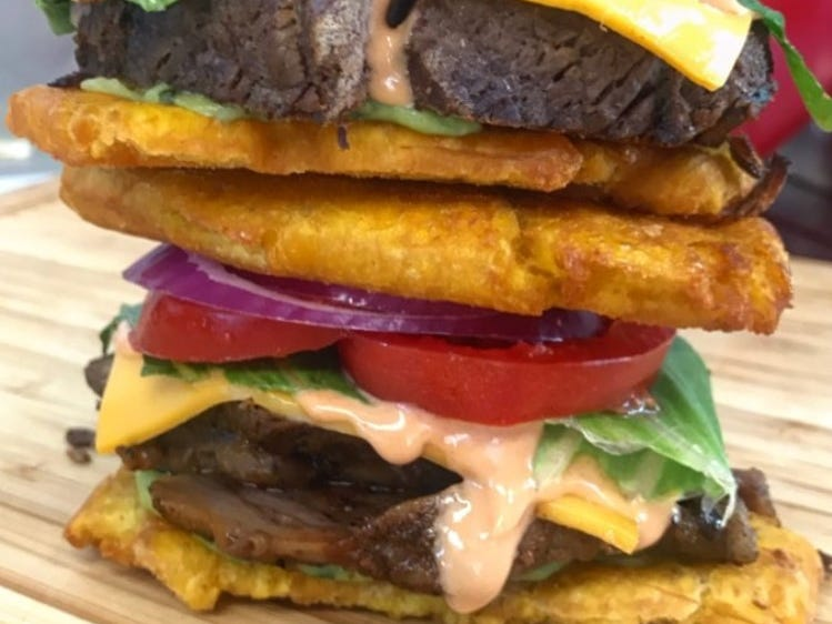 Plantain sandwich from 5 Senses Food Truck in Haverstraw is a multi-leveled creation of steak, American cheese, lettuce, tomato, guacamole and a homemade special spread.