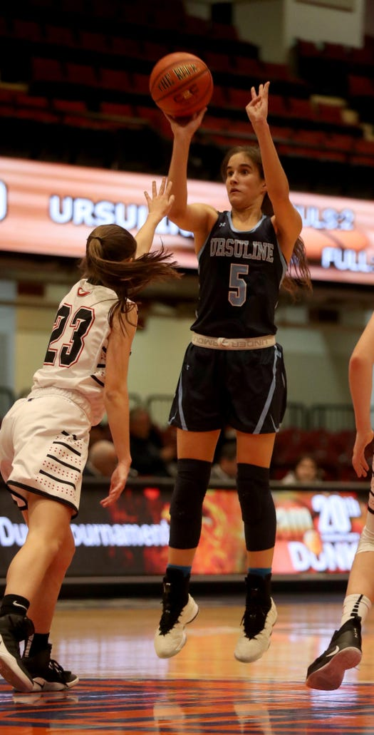Sonia Citron of Ursuline shoots during a Slam Dunk Tournament basketball game against Rye at the Westchester County Center Dec. 19, 2018. Ursuline defeated Rye 72-42.