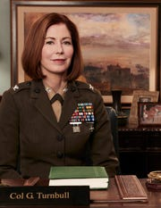 """Dana Delany as Colonel Glenn Turnbull in """"The Code"""". The CBS drama is filming in Pearl River, Dec. 19, 2018."""