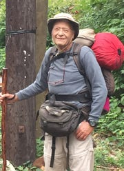 """Hal Stan, at age 86, when he set off from his Valley Cottage home on an 1,100-mile """"road walk"""" to Palm Coast, Florida, on Sept. 28, 2015. In March, Stan will turn 90, but he declares his long-walking days are over."""