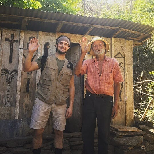 Rocco Malin in Nicaragua with artist Alberto Gutierrez earlier this year.