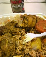 """As you can see from this """"small dish"""" of chicken curry, they don't skimp on portions at the Mayne Dish, a Jamaican-American eatery in Elsmere."""